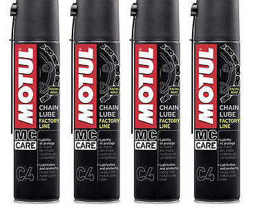 4 X 400 ML Grasso Spray adesivo Motul C4 Chain Lube Factory Line per Catena moto
