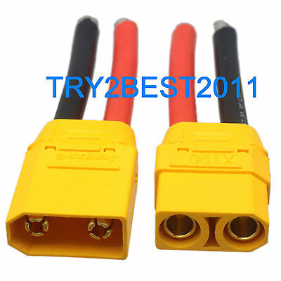 1pair XT90-S male and female connector 10AWG 5CM charger lead cable for Battery
