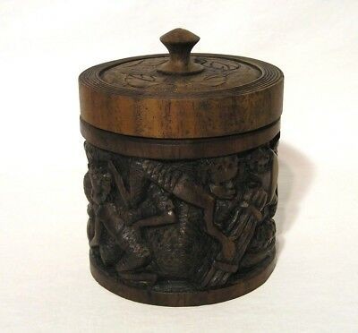 "Storied Hand Carved Covered Round Wooden Box w/Handle Detailed Leaf Top 4 7/8"" H"
