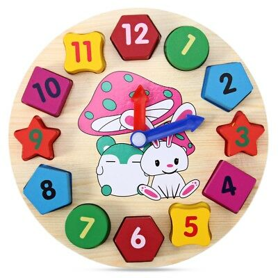 Educational Toy with Wood Cartoon Pattern Digital Blocks Clock for Baby