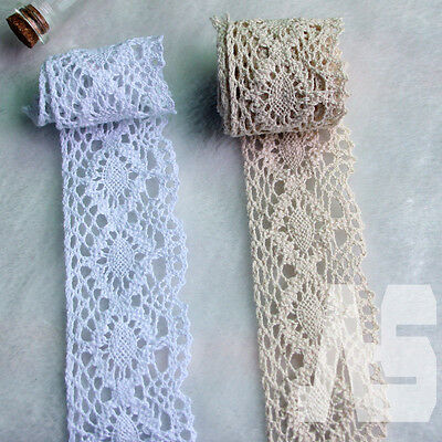 12m 4.5cm Vintage Cotton Crochet Lace Trim Ribbon Sewing Crafts White/Off-white