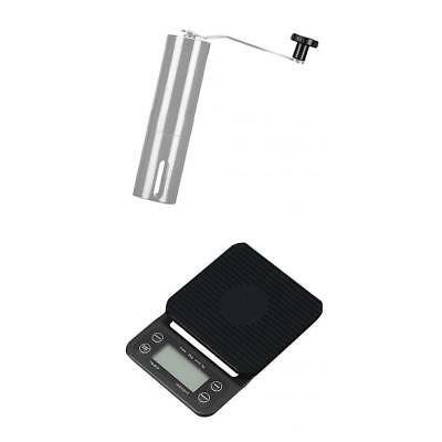 Kitchen Scale Coffee Drip Scale with Timer + Bean and Bistro Coffee Grinder
