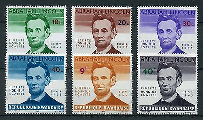 Rwanda 1965 MNH Abraham Lincoln 100th Memorial 6v Set US Presidents Stamps