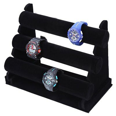 T Bar Three Decks Removable Watch Holder Display Stand for Jewelry Black Color