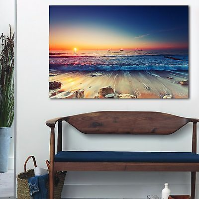 Framed Canvas prints Ocean Sunset sundown Beach view ocean orange wave wall art
