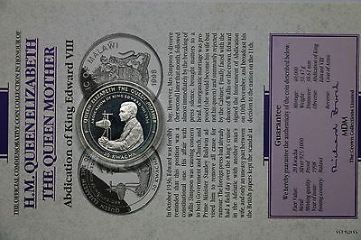 Malawi 20 Kwacha 1998 Silver Proof Queen Mother With Coa Cxqueen33 A60