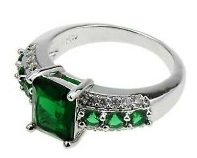 18K White Gold Filled Emerald Ring Size 8
