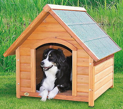 New Wood Dog House Pitched Roof Waterproof Raised Floor Medium