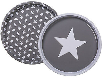 Lovely & Homely Contemporary Round Metal Star Tray 28.5cm 2 Styles Available