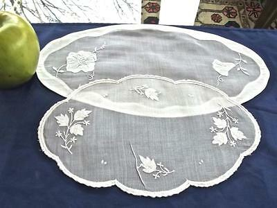 2 Antique MADEIRA White Organdy Oval Bread Vanity Doilies Applique leaves 6x11""