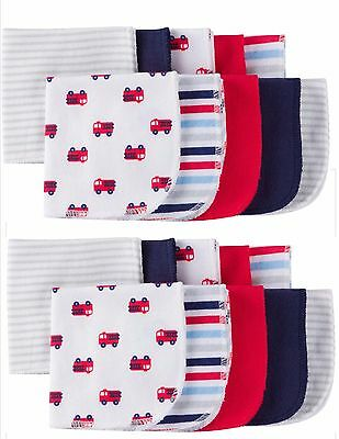 Gerber Baby Boy Infant 20 Pack Terry Printed Solids Washcloths Firetruck