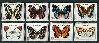 Rwanda 1979 MNH Butterflies 8v Set Insects Butterfly Stamps
