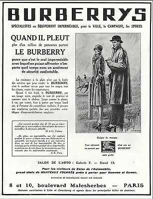 Publicite   Burberrys Le Burberry Impermeable  Mode Fashion  Ad 1929  12E Rare !