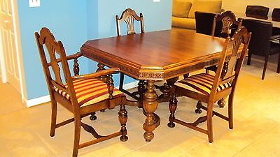 Antique Jacobean Style Dining Room Table With 6 Chairs Completely Restored