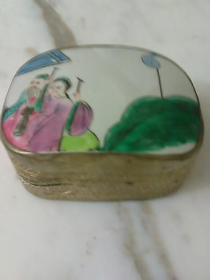Vintage Chinese Shard Box Silver Metal Porcelain Jewelry  Hand painted