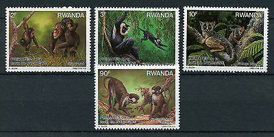Rwanda 1988 MNH Primates of Nyungwe Forest 4v Set Galago Colobus Monkeys Stamps