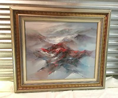 Vintage Oil on Canvas Art Painting Abstract Mountain Landscape by Eddie Rawson