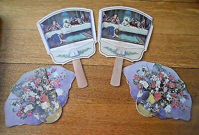 Lot Of 4 Holeton Funeral Home Niles Ohio Advertising Fans Religious & Floral