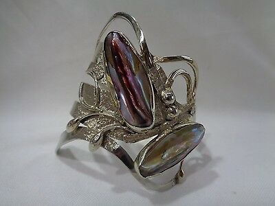 Vintage knife,fork & spoon silver (800) abalone cuff bangle with abstract design