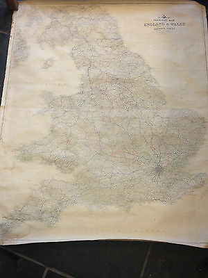 Large Vintage Linen Backed Map Of England And Wales
