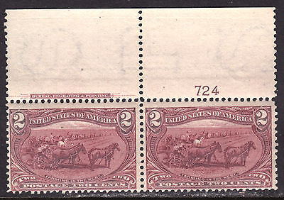 """US #286 2c COPPER RED, 1898 TRANS-MISSISSIPPI EXPO """"IMPRINT"""" PAIR, F, MINT NH"""