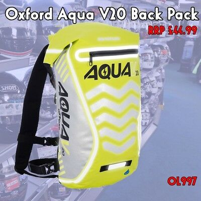 Oxford Yellow Aqua V20 Motorcycle Cycling Waterproof Back Pack Touring Bag