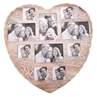 Shabby Chic Wall Heart 10 Photo Mutli Picture FrameVintage Rustic Home Collage