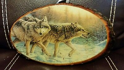 Wolves Picture on Tree Slab