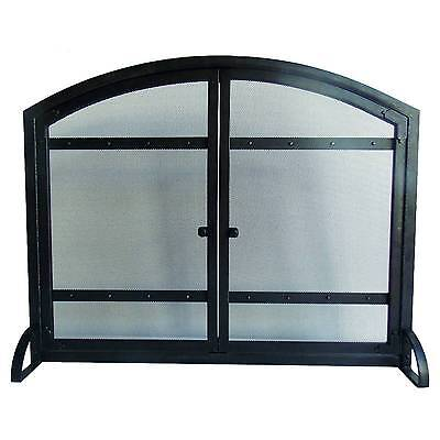 Pleasant Hearth Harper Fireplace Screen with Doors - Antique Black
