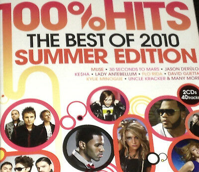 100%Hits The Best Of 2010 Summer Edition 2 CD Set Green Day Kylie Minogue Sia