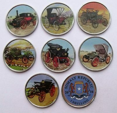 Somalia Set Of 7 Different 1 Shilling 2016 Automobils Cars Coloured Coins