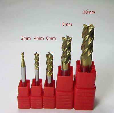 5PCS 2mm-10mm HRC62 4 flutes carbide end mill milling cutter for stainless steel