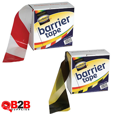 70mm x 500m Hazard Barrier Tape Roll - Non Adhesive - Red/White - Black/Yellow