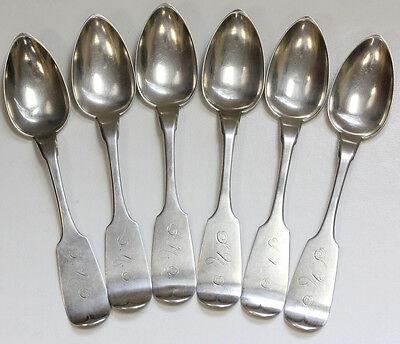 LOT OF (6) ANTIQUE19th CENTURY COIN SILVER TEASPOONS - ALBERT VAN COTT