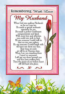 Large Husband In Memory Memorial Bereavement Graveside Keepsake Card &  Holder