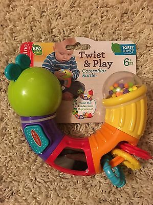 NWT Infantino Twist And Play Caterpillar Rattle 6+Months Topsy Turvy Collection