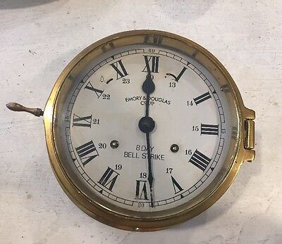 Emory & Douglas Co Ltd 8 Day Bell Strike Brass Maritime Ship's Clock Nautical