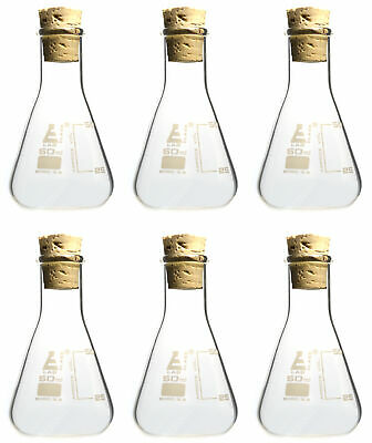Pack of 6 Borosilicate Flasks with Cork Stoppers, 50mL