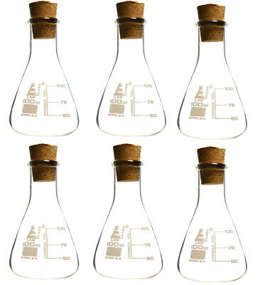 Pack of 6 Borosilicate Flasks with Cork Stoppers, 100mL