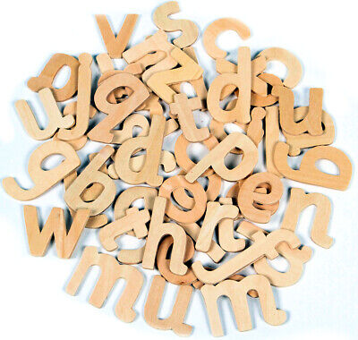 60 Wooden Letters Alphabet Lower Case School Educational Font Craft lowercase