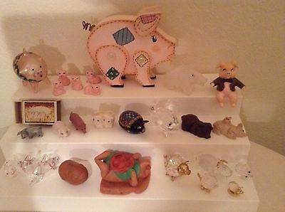 Pig figures  lot, collection  glass, ceramic, pewter, crystal, trinket box, wood