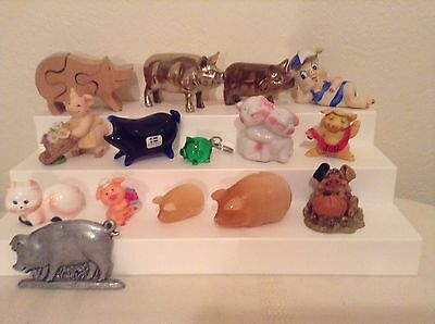 Pig figure lot collection  glass, wood, ceramic, brass