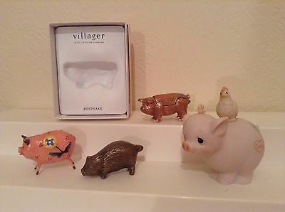 Pig figure lot collection  trinket box, brass, precious moments, metal