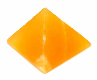 "Warm Orange Crystal Stone Pyramid, 1.5"" base (0.1lbs), Real Calcite"