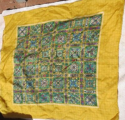 Liberty scarf made in England, vintage yellow,green,blue,pink and white, 25x25