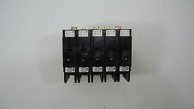 LOT 5x Cutler Hammer GHB1020 20A 480V 1 Pole Bolt On Circuit Breaker
