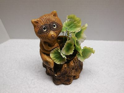 Wood Carved Raccoon on a Stump