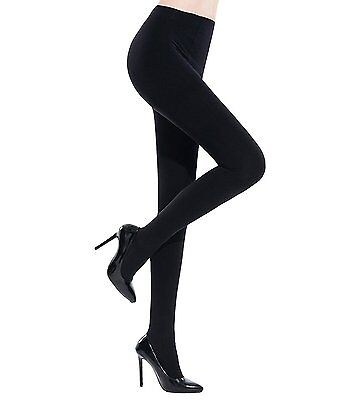 Womens Control Top Opaque Tights Hosiery Pantyhose Stockings by Chalier, Black