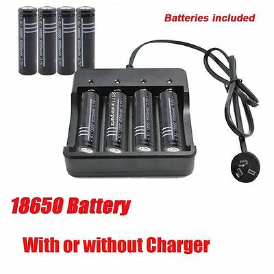 High capacity 18650 3.7V Li-Ion Rechargeable Batteries or 4 Slot Charger AU STOC