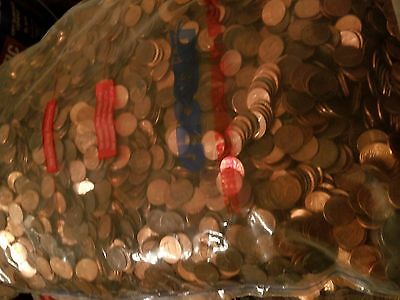 Never Searched Sealed Bank Bag ($50) Mixed Circulated US Pennies 30 LBS. UNCs+++